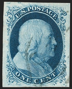 Sale Number 1199, Lot Number 1027, 1c 1851-56 Issue (Scott 5-9)1c Blue, Ty. IIIa (8A), 1c Blue, Ty. IIIa (8A)