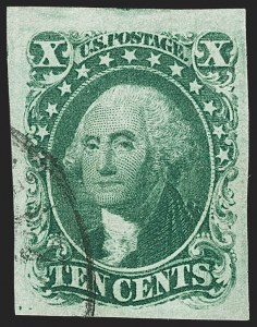 Sale Number 1199, Lot Number 1043, 3c-12c 1851-56 Issue (Scott 10-17)10c Green, Ty. I (13), 10c Green, Ty. I (13)