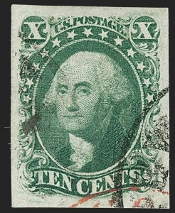 Sale Number 1199, Lot Number 1047, 3c-12c 1851-56 Issue (Scott 10-17)10c Green, Ty. III (15), 10c Green, Ty. III (15)