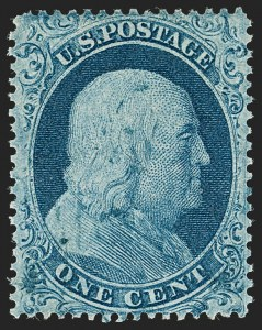 Sale Number 1199, Lot Number 1055, 1c-3c 1857-60 Issue (Scott 18-26)1c Blue, Ty. I (18), 1c Blue, Ty. I (18)