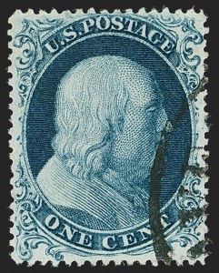 Sale Number 1199, Lot Number 1056, 1c-3c 1857-60 Issue (Scott 18-26)1c Blue, Ty. Ia (19), 1c Blue, Ty. Ia (19)