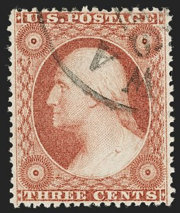 Sale Number 1199, Lot Number 1067, 1c-3c 1857-60 Issue (Scott 18-26)3c Dull Red, Ty. III (26), 3c Dull Red, Ty. III (26)