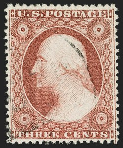 Sale Number 1199, Lot Number 1069, 1c-3c 1857-60 Issue (Scott 18-26)3c Brownish Carmine, Ty. III (26), 3c Brownish Carmine, Ty. III (26)