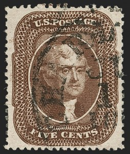 Sale Number 1199, Lot Number 1080, 5c-30c 1857-60 Issue (Scott 27-38)5c Brown, Ty. II (30A), 5c Brown, Ty. II (30A)