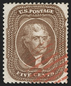 Sale Number 1199, Lot Number 1081, 5c-30c 1857-60 Issue (Scott 27-38)5c Brown, Ty. II (30A), 5c Brown, Ty. II (30A)
