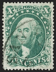 Sale Number 1199, Lot Number 1082, 5c-30c 1857-60 Issue (Scott 27-38)10c Green, Ty. I (31), 10c Green, Ty. I (31)