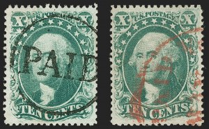 Sale Number 1199, Lot Number 1085, 5c-30c 1857-60 Issue (Scott 27-38)10c Green, Ty. II, III (32-33), 10c Green, Ty. II, III (32-33)