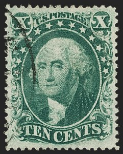 Sale Number 1199, Lot Number 1086, 5c-30c 1857-60 Issue (Scott 27-38)10c Green, Ty. III (33), 10c Green, Ty. III (33)