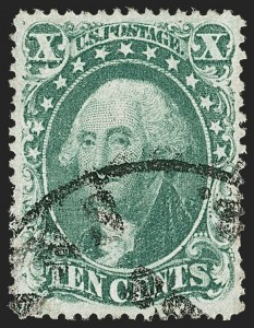 Sale Number 1199, Lot Number 1087, 5c-30c 1857-60 Issue (Scott 27-38)10c Green, Ty. IV (34), 10c Green, Ty. IV (34)