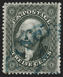 Sale Number 1199, Lot Number 1090, 5c-30c 1857-60 Issue (Scott 27-38)12c Black, Plate 1 (36), 12c Black, Plate 1 (36)