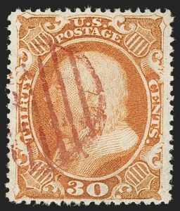 Sale Number 1199, Lot Number 1094, 5c-30c 1857-60 Issue (Scott 27-38)30c Orange (38), 30c Orange (38)