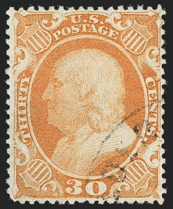 Sale Number 1199, Lot Number 1095, 5c-30c 1857-60 Issue (Scott 27-38)30c Orange (38), 30c Orange (38)