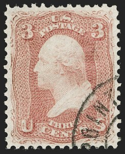 Sale Number 1199, Lot Number 1109, 1861-66 Issue (Scott 62B-65)3c Rose, Vertically Laid Paper (65b), 3c Rose, Vertically Laid Paper (65b)