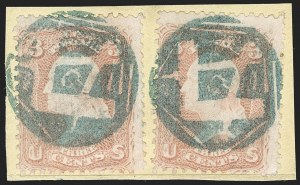 Sale Number 1199, Lot Number 1112, 1861-66 Issue Fancy Cancellations3c Rose (65), 3c Rose (65)