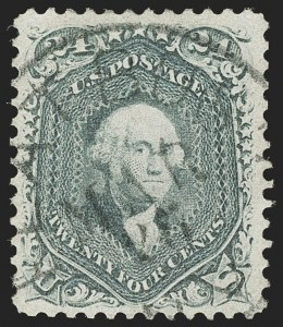 Sale Number 1199, Lot Number 1129, 1861-66 Issue (Scott 67-78)24c Steel Blue (70b), 24c Steel Blue (70b)