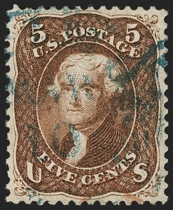 Sale Number 1199, Lot Number 1136, 1861-66 Issue (Scott 67-78)5c Red Brown (75), 5c Red Brown (75)