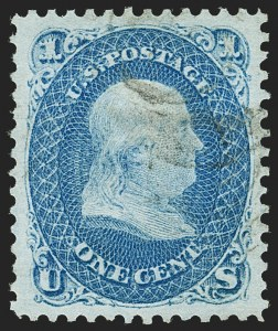 Sale Number 1199, Lot Number 1151, 1867-68 Grilled Issue (Scott 79-101)1c Blue, E. Grill (86), 1c Blue, E. Grill (86)