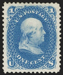 Sale Number 1199, Lot Number 1171, 1875 Re-Issue of 1861-66 Issue (Scott 102-111)1c Blue, Re-Issue (102), 1c Blue, Re-Issue (102)