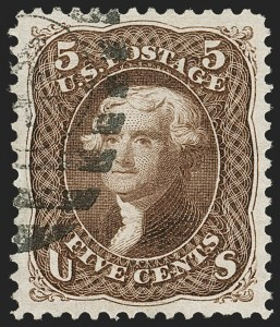 Sale Number 1199, Lot Number 1176, 1875 Re-Issue of 1861-66 Issue (Scott 102-111)5c Brown, Re-Issue (105), 5c Brown, Re-Issue (105)