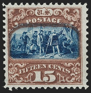 Sale Number 1199, Lot Number 1195, 1869 Pictorial Issue (Scott 112-122)15c Brown & Blue, Ty. II (119). Mint N.H, 15c Brown & Blue, Ty. II (119). Mint N.H