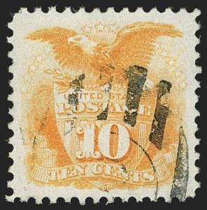 Sale Number 1199, Lot Number 1208, 1875 Re-Issue of 1869 Pictorial Issue (Scott 123-133a)10c Yellow, Re-Issue (127), 10c Yellow, Re-Issue (127)