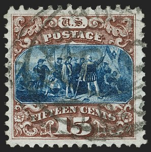 Sale Number 1199, Lot Number 1211, 1875 Re-Issue of 1869 Pictorial Issue (Scott 123-133a)15c Brown & Blue, Re-Issue (129), 15c Brown & Blue, Re-Issue (129)