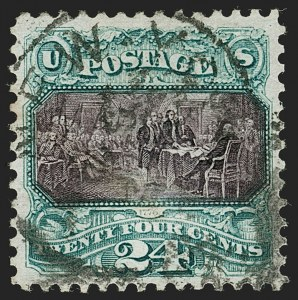 Sale Number 1199, Lot Number 1212, 1875 Re-Issue of 1869 Pictorial Issue (Scott 123-133a)24c Green & Violet, Re-Issue (130), 24c Green & Violet, Re-Issue (130)