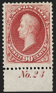 Sale Number 1199, Lot Number 1241, 1870-71 National Bank Note Co. Issue (Scott 134-155)90c Carmine (155), 90c Carmine (155)