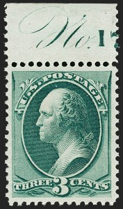 "Sale Number 1199, Lot Number 1245, 1873 Continental Bank Note Co. Issue (Scott 156-166)3c Green (158). Mint N.H. with ""No, 3c Green (158). Mint N.H. with ""No"