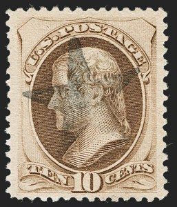 Sale Number 1199, Lot Number 1265, 1879-83 American Bank Note Co. Issues (Scott 182-211)10c Brown, With Secret Mark, Double Transfer (188 var), 10c Brown, With Secret Mark, Double Transfer (188 var)