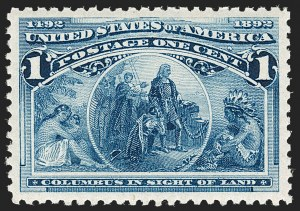Sale Number 1199, Lot Number 1300, 1893 Columbian Issue (Scott 230-245)1c Columbian (230), 1c Columbian (230)