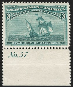 Sale Number 1199, Lot Number 1304, 1893 Columbian Issue (Scott 230-245)3c Columbian (232), 3c Columbian (232)