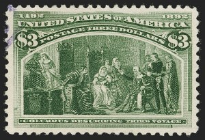 Sale Number 1199, Lot Number 1324, 1893 Columbian Issue (Scott 230-245)$3.00 Olive Green, Columbian (243a), $3.00 Olive Green, Columbian (243a)