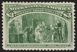 Sale Number 1199, Lot Number 1325, 1893 Columbian Issue (Scott 230-245)$3.00 Olive Green, Columbian (243a), $3.00 Olive Green, Columbian (243a)