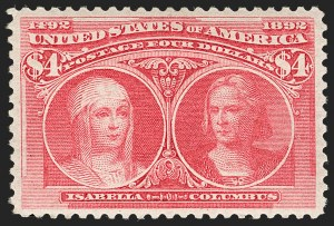 Sale Number 1199, Lot Number 1326, 1893 Columbian Issue (Scott 230-245)$4.00 Rose Carmine, Columbian (244a), $4.00 Rose Carmine, Columbian (244a)