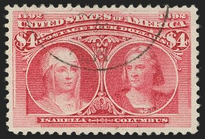 Sale Number 1199, Lot Number 1327, 1893 Columbian Issue (Scott 230-245)$4.00 Columbian (244), $4.00 Columbian (244)