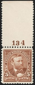 Sale Number 1199, Lot Number 1342, 1894 Unwatermarked Bureau Issue (Scott 246-263)5c Chocolate (255), 5c Chocolate (255)