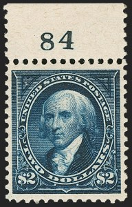 Sale Number 1199, Lot Number 1368, 1895 Watermarked Bureau Issue (Scott 264-278)$2.00 Bright Blue (277), $2.00 Bright Blue (277)