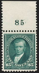 Sale Number 1199, Lot Number 1372, 1895 Watermarked Bureau Issue (Scott 264-278)$5.00 Dark Green (278), $5.00 Dark Green (278)