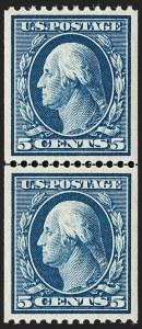 Sale Number 1199, Lot Number 1441, 1908-10 Washington-Franklin Issues (Scott 331-356)5c Blue, Coil (351), 5c Blue, Coil (351)