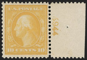 Sale Number 1199, Lot Number 1443, 1909 Bluish Paper Issue (Scott 357-366)10c Yellow, Bluish (364), 10c Yellow, Bluish (364)