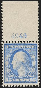 Sale Number 1199, Lot Number 1444, 1909 Bluish Paper Issue (Scott 357-366)15c Pale Ultramarine, Bluish (366), 15c Pale Ultramarine, Bluish (366)