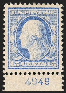 Sale Number 1199, Lot Number 1451, 1910-13 Washington-Franklin Issue (Scott 374-396)15c Pale Ultramarine (382), 15c Pale Ultramarine (382)