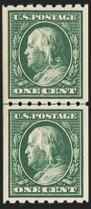 Sale Number 1199, Lot Number 1452, 1910-13 Washington-Franklin Issue (Scott 374-396)1c Green, Coil (390), 1c Green, Coil (390)