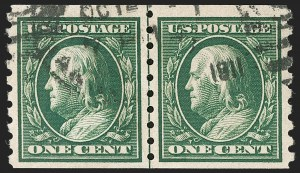 Sale Number 1199, Lot Number 1454, 1910-13 Washington-Franklin Issue (Scott 374-396)1c Green, Coil (392), 1c Green, Coil (392)