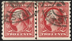 Sale Number 1199, Lot Number 1455, 1910-13 Washington-Franklin Issue (Scott 374-396)2c Carmine, Coil (393), 2c Carmine, Coil (393)