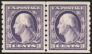 Sale Number 1199, Lot Number 1456, 1910-13 Washington-Franklin Issue (Scott 374-396)3c Deep Violet, Coil (394), 3c Deep Violet, Coil (394)