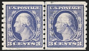 Sale Number 1199, Lot Number 1457, 1910-13 Washington-Franklin Issue (Scott 374-396)3c Deep Violet, Coil (394), 3c Deep Violet, Coil (394)