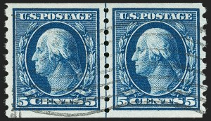Sale Number 1199, Lot Number 1459, 1910-13 Washington-Franklin Issue (Scott 374-396)5c Blue, Coil (396), 5c Blue, Coil (396)