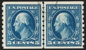 Sale Number 1199, Lot Number 1460, 1910-13 Washington-Franklin Issue (Scott 374-396)5c Blue, Coil (396), 5c Blue, Coil (396)